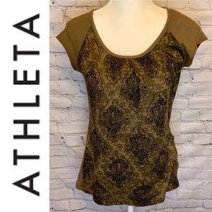 ATHLETA Brown metallic mesh top